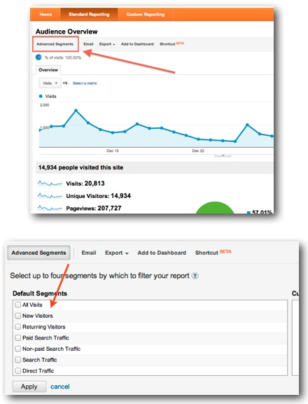 Google Analytics custom segments location