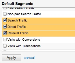 Google Analytics default segments
