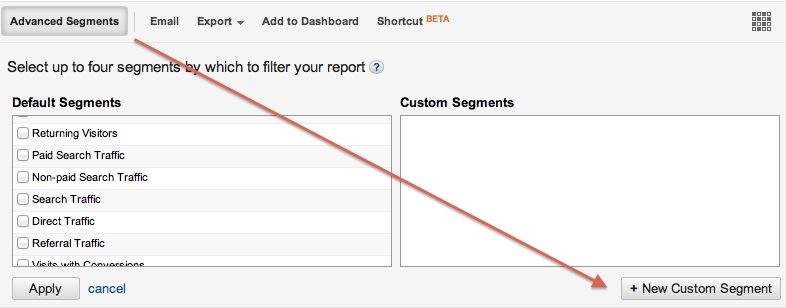 Google Analytics new custom segment