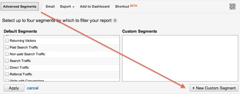 Google Analytics new custom segment
