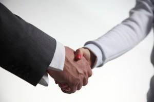 man and woman handshake