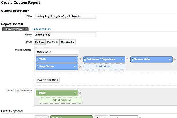 Landing Page Custom Report Configuration