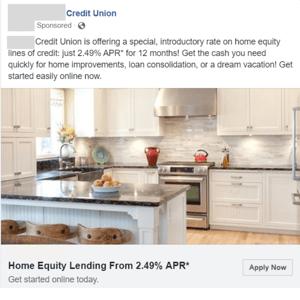 Credit union Facebook ad example generic