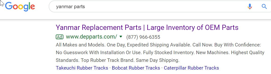 Google Search ad for manufacturer