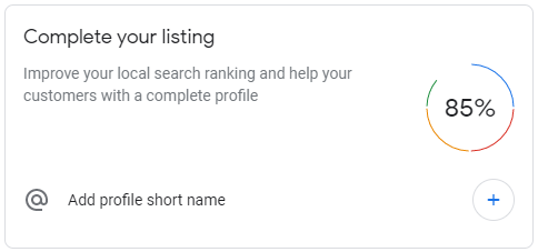 Google MyBusiness complete your listing feature