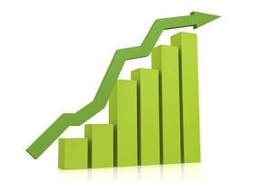Green upward trending bar graph