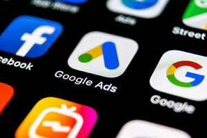social media and search advertising icons on a smartphone