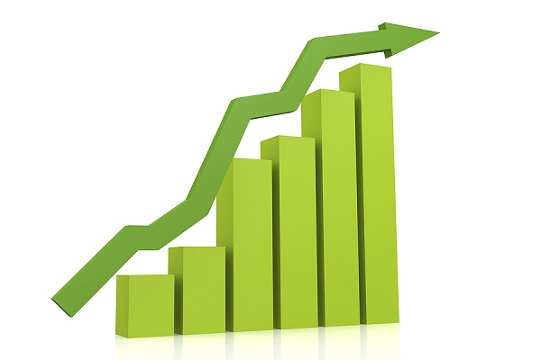 Green upward trending bar graph
