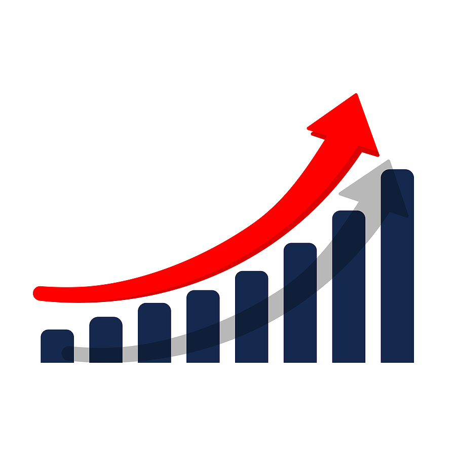 Navy blue graph with a red arrow pointing upwards indicating growth