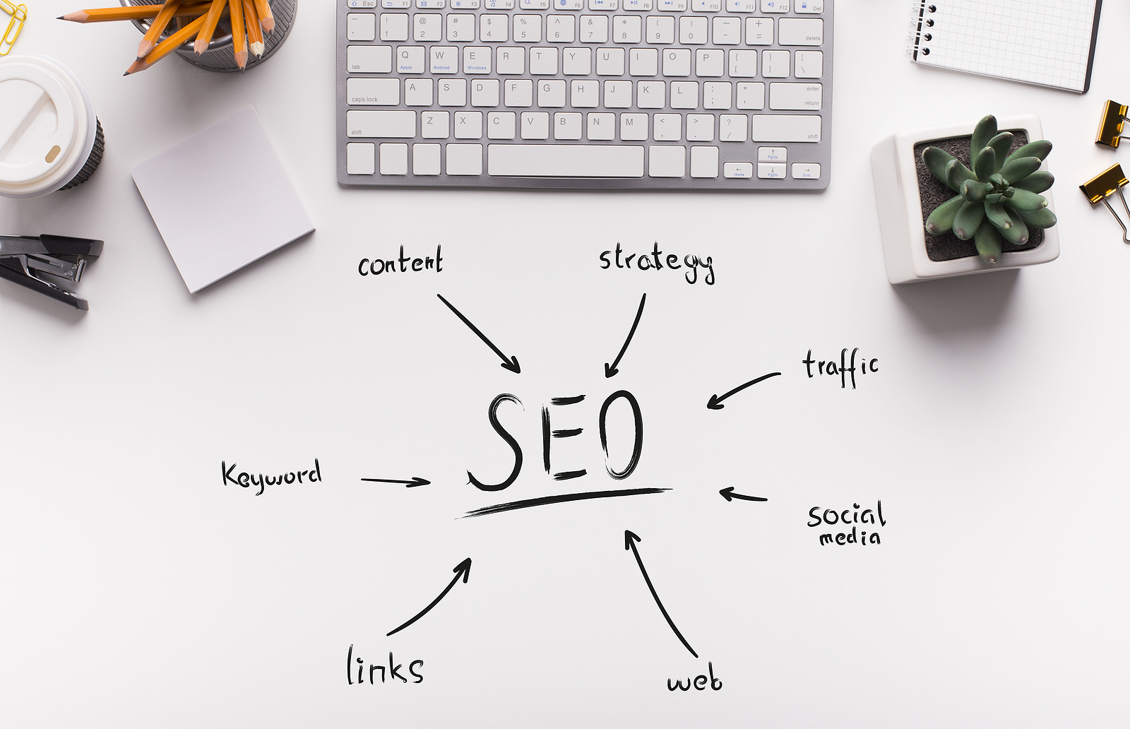 manufacturing SEO strategies written on an office desk